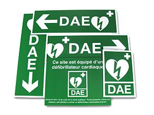 PACK Signalétique DAE 5 autocollants (usage intérieur)